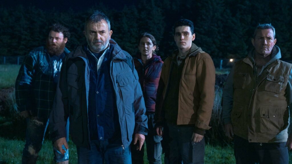 Michael Hough as SP McCauley, Nigel O'Neill as Francie Moffat, Louisa Harland as Claire McCann, Jack Rowan as Eugene Moffat and Marty Maguire as Gabriel in Boys From County Hell, directed by Chris Baugh. Photo: Aidan Monaghan. Copyright: Vertigo Releasing/BFCH. All Rights Reserved.