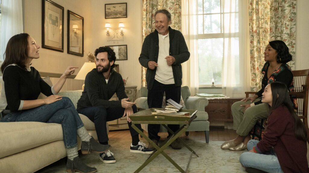 Laura Benanti as Francine Burnz, Penn Badgley as Rex Burnz, Billy Crystal as Charlie Burnz, Tiffany Haddish as Emma Payge and Audrey Hsieh as Lindsay Burnz in Here Today, directed by Billy Crystal. Photo: Cara Howe. Copyright: 2021 CTMG, Inc. All Rights Reserved.