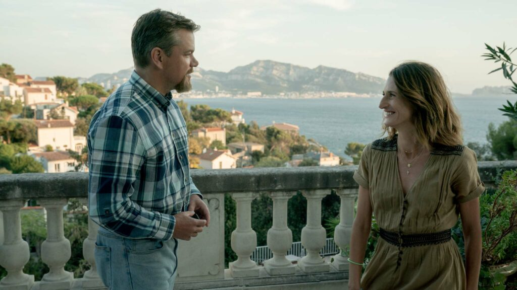 Matt Damon as Bill and Camille Cottin as Virginie in Stillwater, directed by Tom McCarthy. Photo: Jessica Forde. Copyright: Focus Features, LLC. All Rights Reserved.