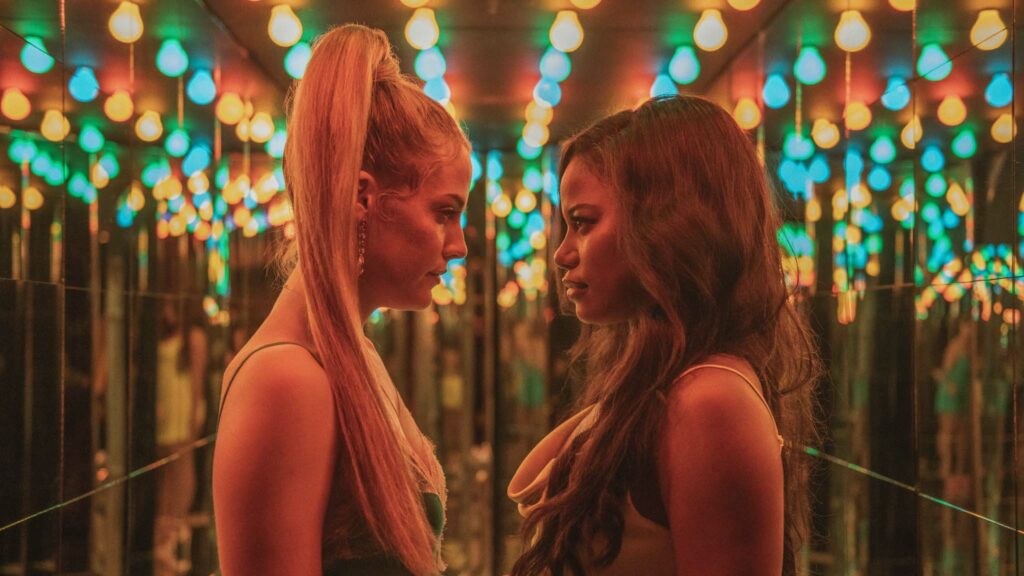 Riley Keough as Stefani and Taylour Paige as Zola in Zola, directed by Janicza Bravo. Photo: Anna Kooris. Copyright: A24 Films. All Rights Reserved.