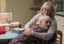 Max Harwood as Jamie New and Sarah Lancashire as Margaret New in Everybody's Talking About Jamie, directed by Jonathan Butterell. Photo: John Rogers. Copyright: 2021 Monarchy Enterprises S.A.R.L./Regency Entertainment (USA), Inc./Channel Four Television Corporation. All Rights Reserved.