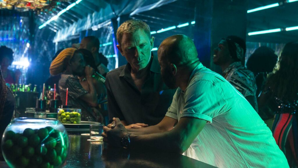 Daniel Craig as James Bond and Jeffrey Wright as Felix Leiter in No Time To Die, directed by Cary Joji Fukunaga. Photo: Nicole Dove. Copyright: 2020 Danjaq, LLC/MGM. All Rights Reserved.