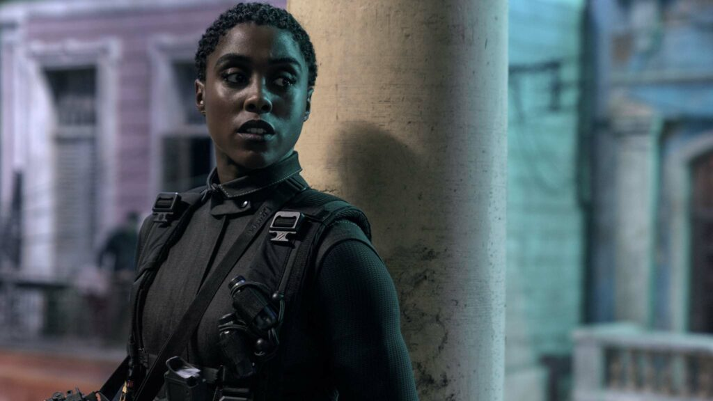 Lashana Lynch as Nomi in No Time To Die, directed by Cary Joji Fukunaga. Photo: Nicole Dove. Copyright: 2019 Danjaq, LLC/MGM. All Rights Reserved.