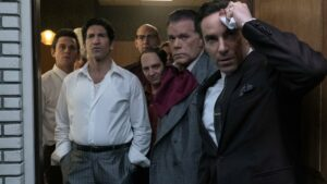 """Billy Magnussen as Paulie Walnuts, Jon Bernthal as Johnny Soprano, Corey Stoll as Junior Soprano, John Magaro as Silvio Dante, Ray Liotta as """"Hollywood Dick"""" Moltisanti and Alessandro Nivola as Dickie Moltisanti in The Many Saints Of Newark, directed by Alan Taylor. Photo: Barry Wetcher. Copyright: 2019 Warner Bros. Entertainment Inc. All Rights Reserved."""
