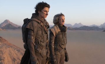 Timothee Chalamet as Paul Atreides and Rebecca Ferguson as Lady Jessica Atreides in Dune, directed by Denis Villeneuve. Photo: Chiabella James. Copyright: 2019 Warner Bros. Entertainment Inc. All Rights Reserved.