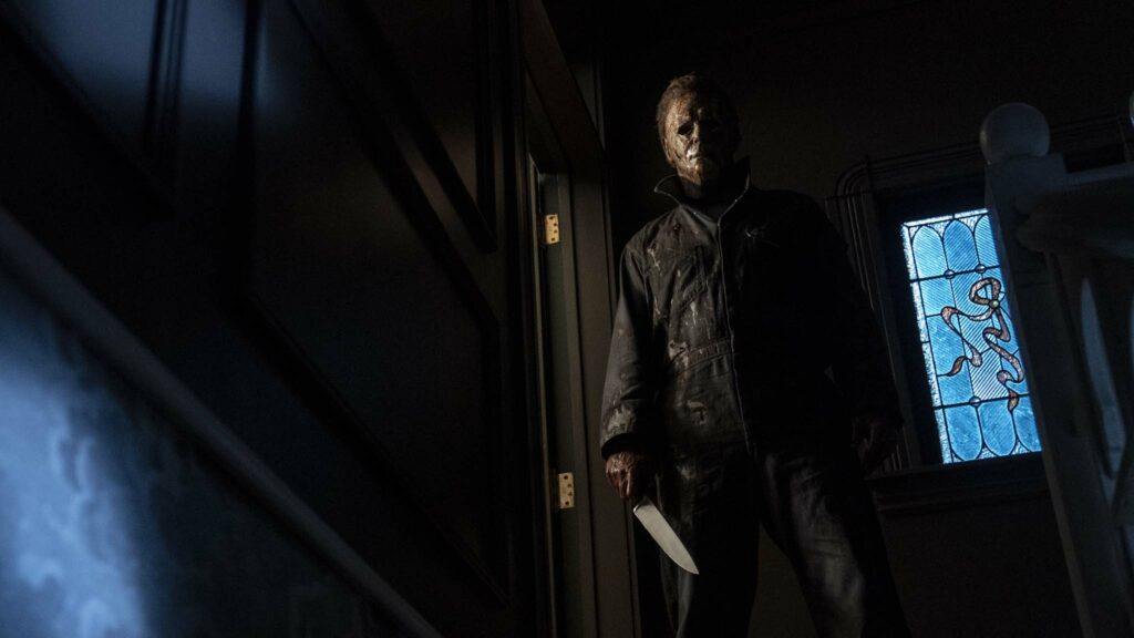 Michael Myers aka The Shape in Halloween Kills, directed by David Gordon Green. Photo: Ryan Green. Copyright: 2021 Universal Studios. All Rights Reserved.