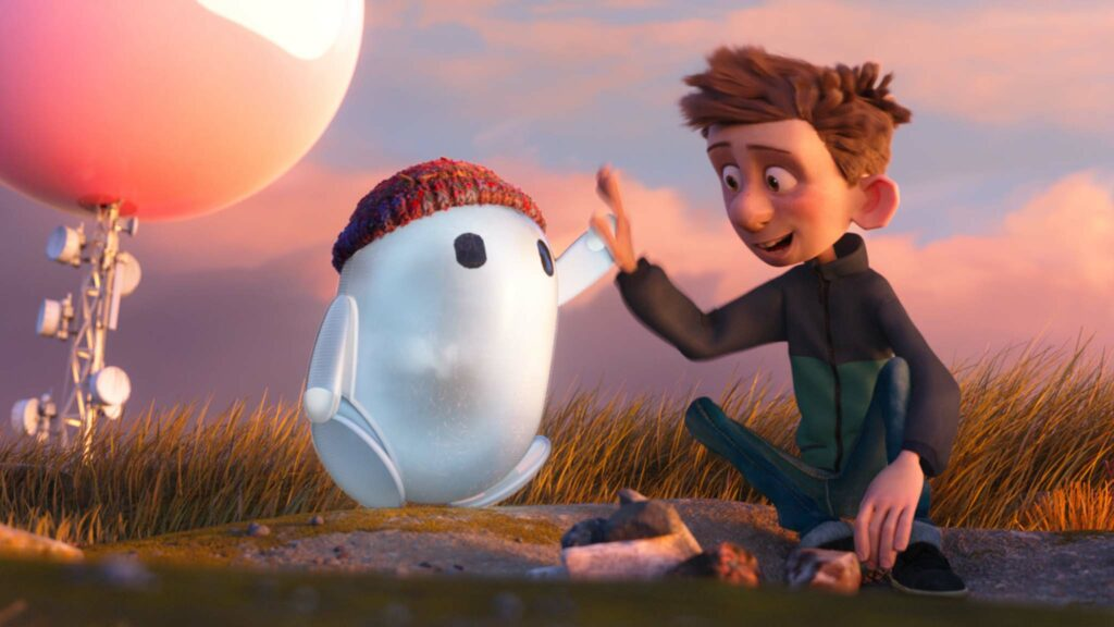 Ron (voiced by Zack Galifianakis) and Barney (Jack Dylan Grazer) in Ron's Gone Wrong, directed by Sarah Smith, Jean-Philippe Vine and Octavio E Rodriguez. Photo: Locksmith Animation. Copyright: 2021 20th Century Studios. All Rights Reserved.