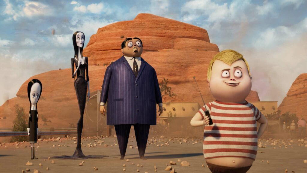 Wednesday Addams (voiced by Chloe Grace Moretz), Morticia Addams (Charlize Theron), Gomez Addams (Oscar Isaac) and Pugsley Addams (Javon Walton) in The Addams Family 2, directed by Greg Tiernan and Conrad Vernon. Copyright: 2021 Metro-Goldwyn-Mayer Pictures Inc. All Rights Reserved.